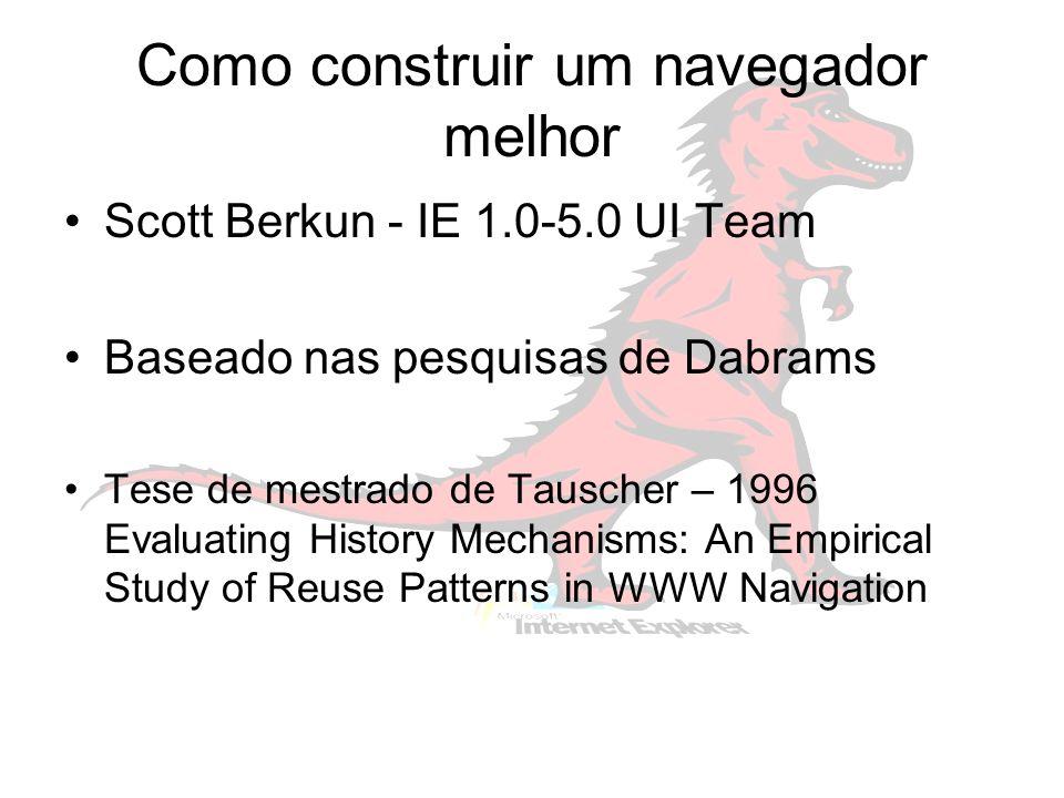 Como construir um navegador melhor Scott Berkun - IE 1.0-5.0 UI Team Baseado nas pesquisas de Dabrams Tese de mestrado de Tauscher – 1996 Evaluating History Mechanisms: An Empirical Study of Reuse Patterns in WWW Navigation