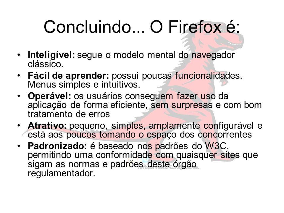 Concluindo... O Firefox é: Inteligível: segue o modelo mental do navegador clássico.