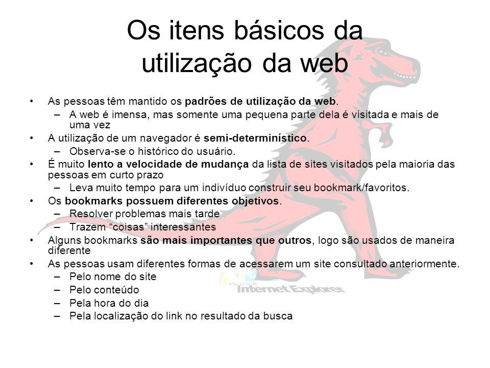 Os itens básicos da utilização da web As pessoas têm mantido os padrões de utilização da web.