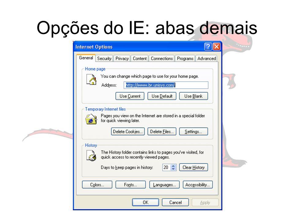 Opções do IE: abas demais
