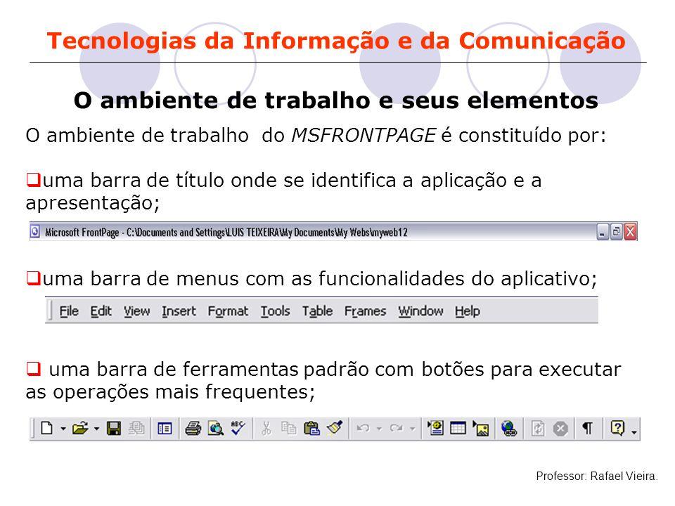 Tecnologias da Informação e da Comunicação O ambiente de trabalho e seus elementos O ambiente de trabalho do MSFRONTPAGE é constituído por: uma barra