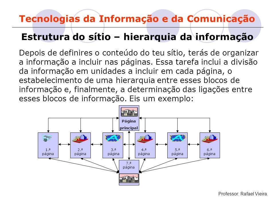 Tecnologias da Informação e da Comunicação Estrutura do sítio – hierarquia da informação Depois de definires o conteúdo do teu sítio, terás de organiz
