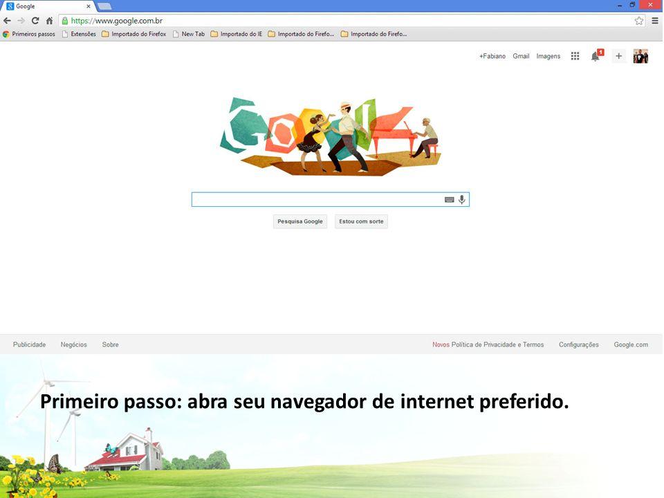 Primeiro passo: abra seu navegador de internet preferido.