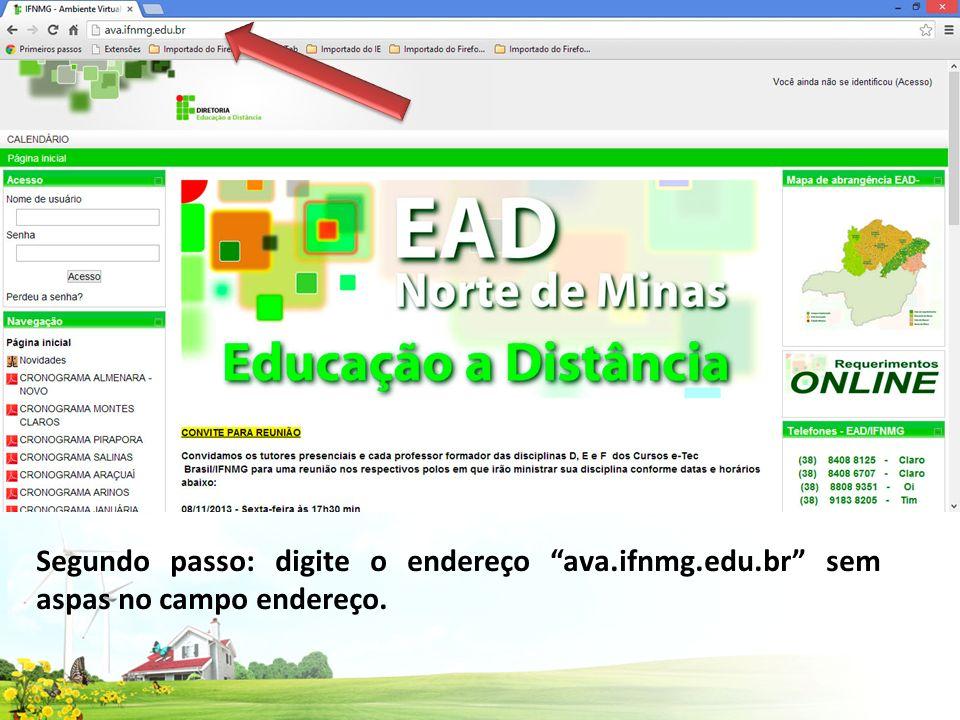 Segundo passo: digite o endereço ava.ifnmg.edu.br sem aspas no campo endereço.