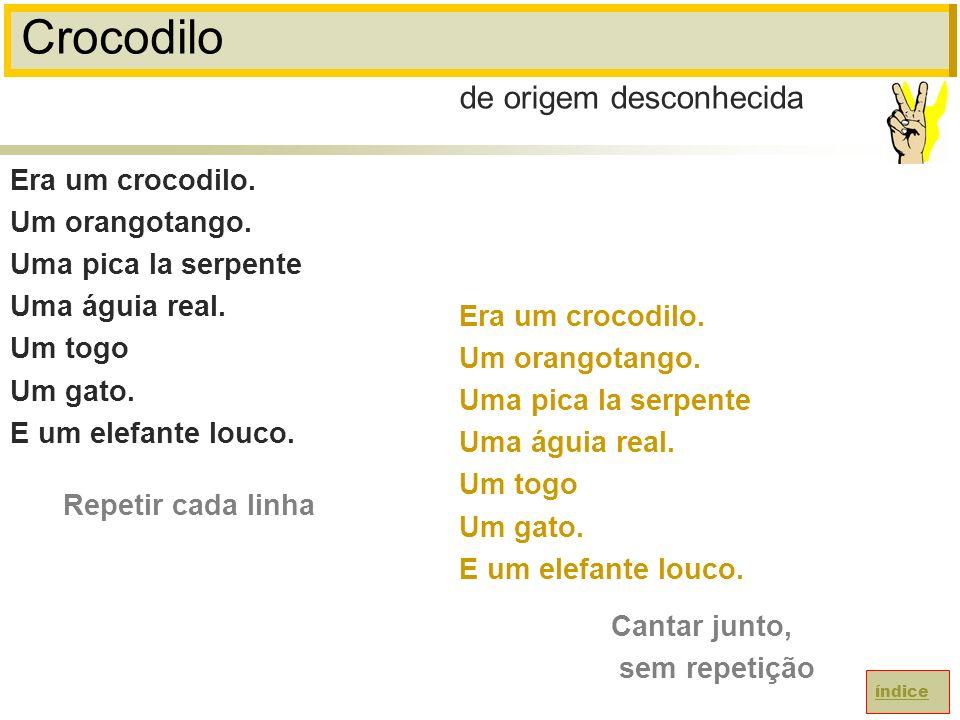 Crocodilo Era um crocodilo.Um orangotango. Uma pica la serpente Uma águia real.
