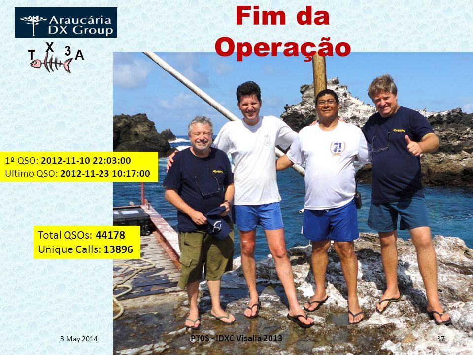 T X 3 A Fim da Operação 3 May 2014 PT0S - IDXC Visalia 2013 37 1º QSO: 2012-11-10 22:03:00 Ultimo QSO: 2012-11-23 10:17:00 Total QSOs: 44178 Unique Ca