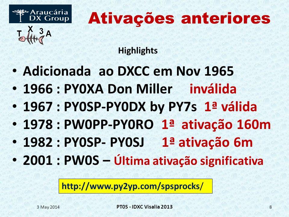T X 3 A Ativações anteriores Adicionada ao DXCC em Nov 1965 1966 : PY0XA Don Miller inválida 1967 : PY0SP-PY0DX by PY7s 1ª válida 1978 : PW0PP-PY0RO 1