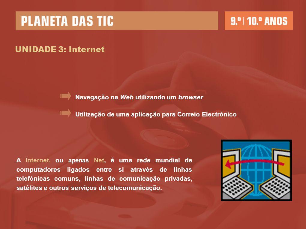 UNIDADE 3: Internet Utilização de uma aplicação para Correio Electrónico Navegação na Web utilizando um browser A Internet, ou apenas Net, é uma rede