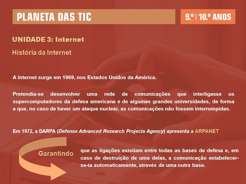 UNIDADE 3: Internet História da Internet A Internet surge em 1969, nos Estados Unidos da América. Pretendia-se desenvolver uma rede de comunicações qu