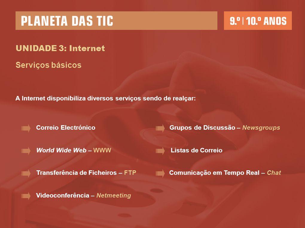 UNIDADE 3: Internet Serviços básicos A Internet disponibiliza diversos serviços sendo de realçar: Correio Electrónico World Wide Web – WWW Transferênc