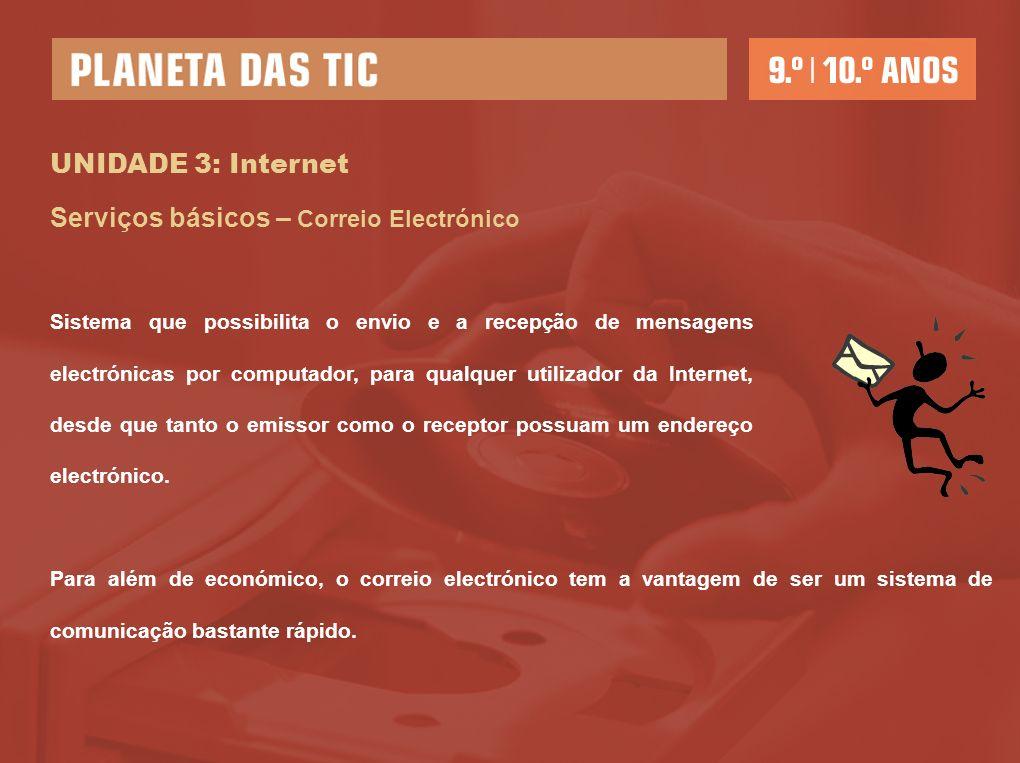 UNIDADE 3: Internet Serviços básicos – Correio Electrónico Sistema que possibilita o envio e a recepção de mensagens electrónicas por computador, para