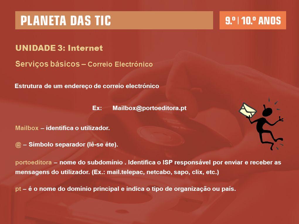 UNIDADE 3: Internet Serviços básicos – Correio Electrónico Ex: Mailbox@portoeditora.pt Mailbox – identifica o utilizador. @ – Símbolo separador (lê-se