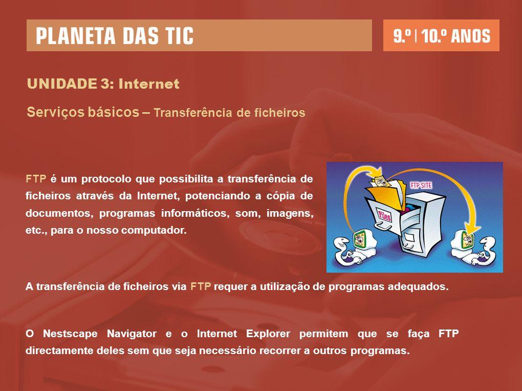 UNIDADE 3: Internet Serviços básicos – Transferência de ficheiros FTP é um protocolo que possibilita a transferência de ficheiros através da Internet,
