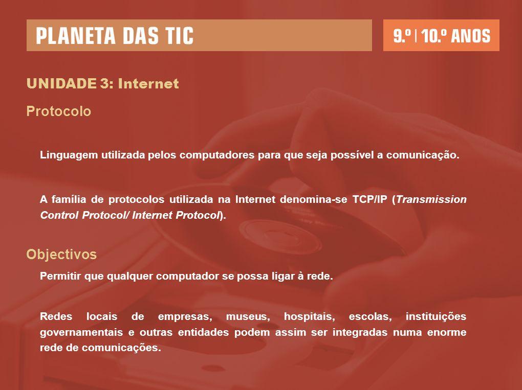 UNIDADE 3: Internet IP (Internet Protocol) – Protocolo que define a forma como um determinado computador é reconhecido na Internet ou seja, o seu endereço IP.