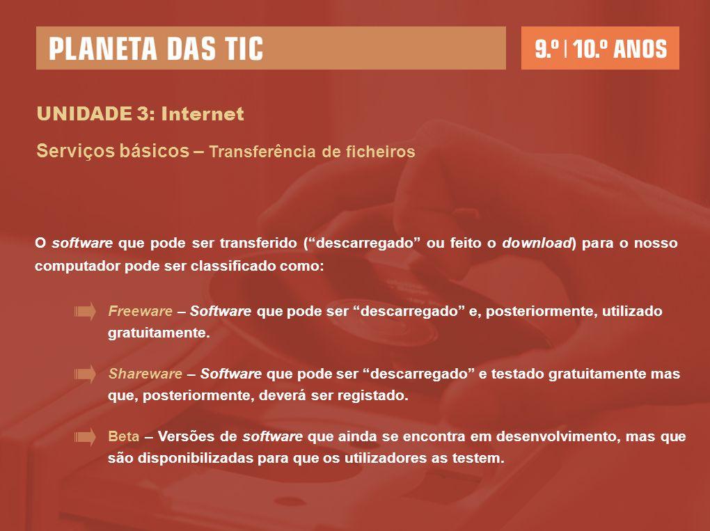 UNIDADE 3: Internet Serviços básicos – Transferência de ficheiros O software que pode ser transferido (descarregado ou feito o download) para o nosso