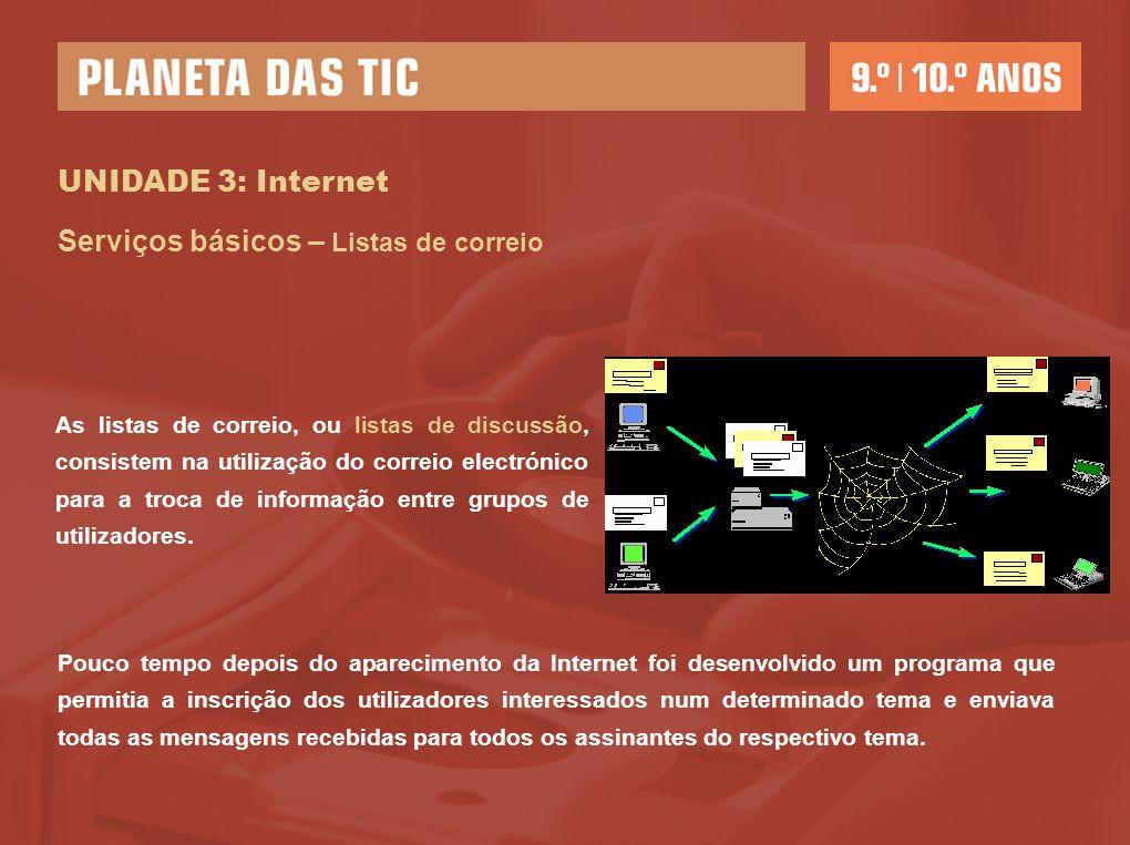 UNIDADE 3: Internet Serviços básicos – Listas de correio As listas de correio, ou listas de discussão, consistem na utilização do correio electrónico