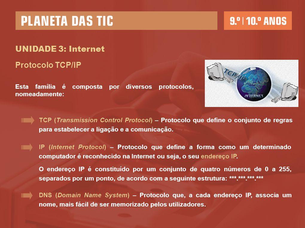 UNIDADE 3: Internet Protocolo TCP/IP FTP (File Transfer Protocol) – Protocolo que possibilita a transferência de ficheiros através da Internet.