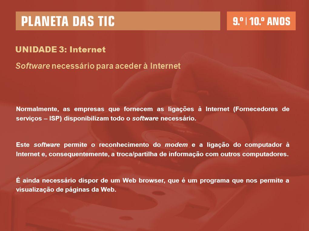 UNIDADE 3: Internet Normalmente, as empresas que fornecem as ligações à Internet (Fornecedores de serviços – ISP) disponibilizam todo o software neces