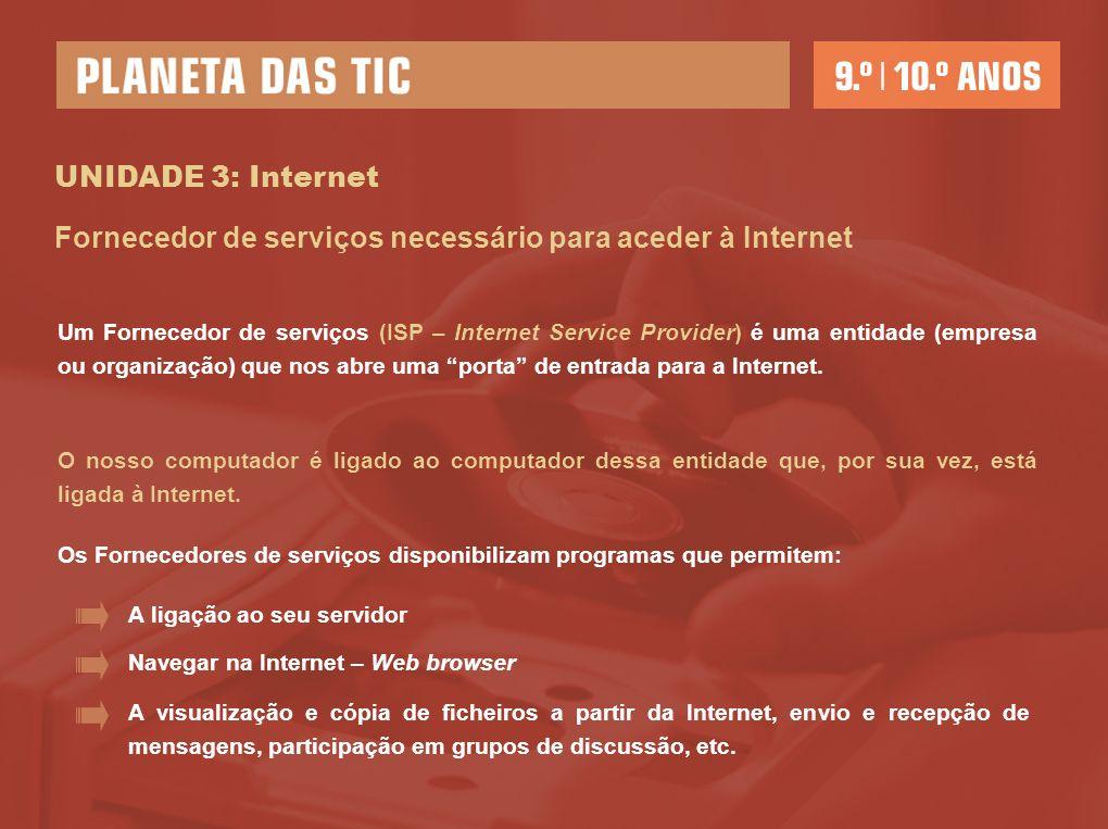 UNIDADE 3: Internet Um Fornecedor de serviços (ISP – Internet Service Provider) é uma entidade (empresa ou organização) que nos abre uma porta de entr