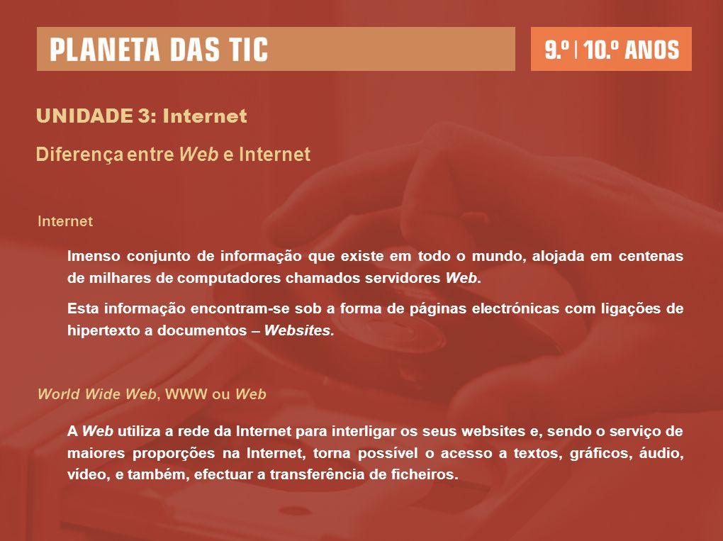 UNIDADE 3: Internet Internet Diferença entre Web e Internet Imenso conjunto de informação que existe em todo o mundo, alojada em centenas de milhares