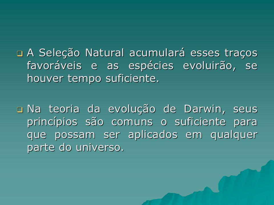 A Seleção Natural acumulará esses traços favoráveis e as espécies evoluirão, se houver tempo suficiente. A Seleção Natural acumulará esses traços favo