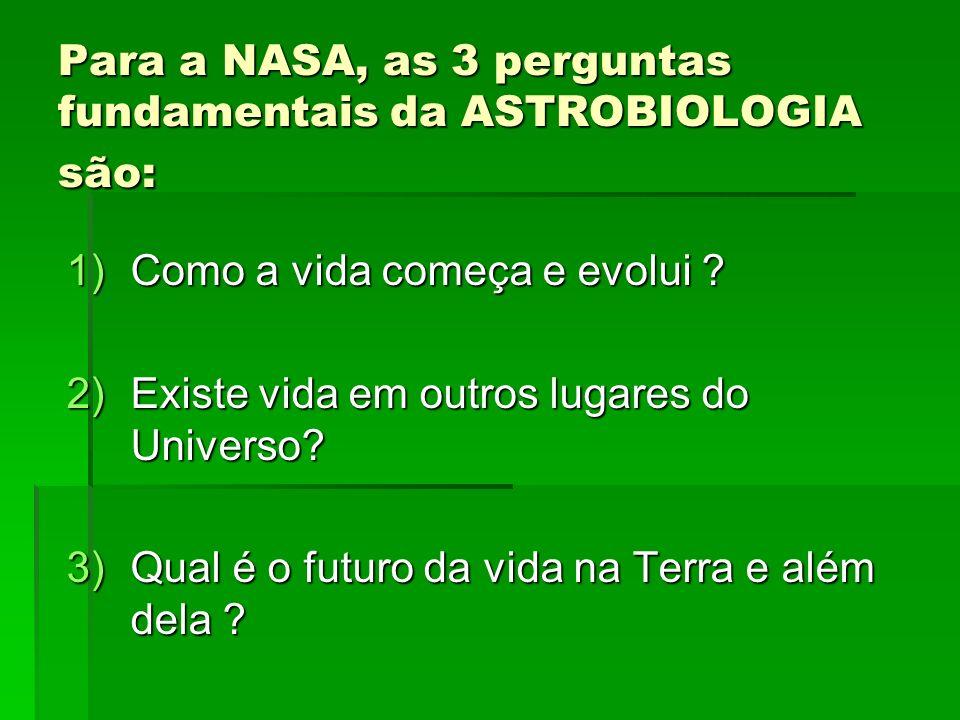 Para a NASA, as 3 perguntas fundamentais da ASTROBIOLOGIA são: 1)Como a vida começa e evolui ? 2)Existe vida em outros lugares do Universo? 3)Qual é o