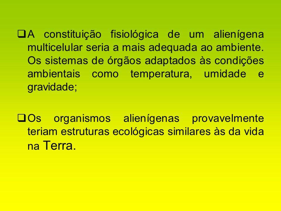 A constituição fisiológica de um alienígena multicelular seria a mais adequada ao ambiente. Os sistemas de órgãos adaptados às condições ambientais co