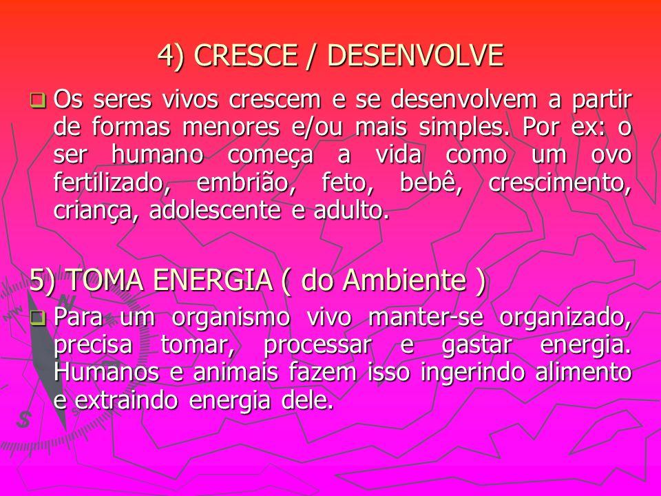 4) CRESCE / DESENVOLVE Os seres vivos crescem e se desenvolvem a partir de formas menores e/ou mais simples. Por ex: o ser humano começa a vida como u
