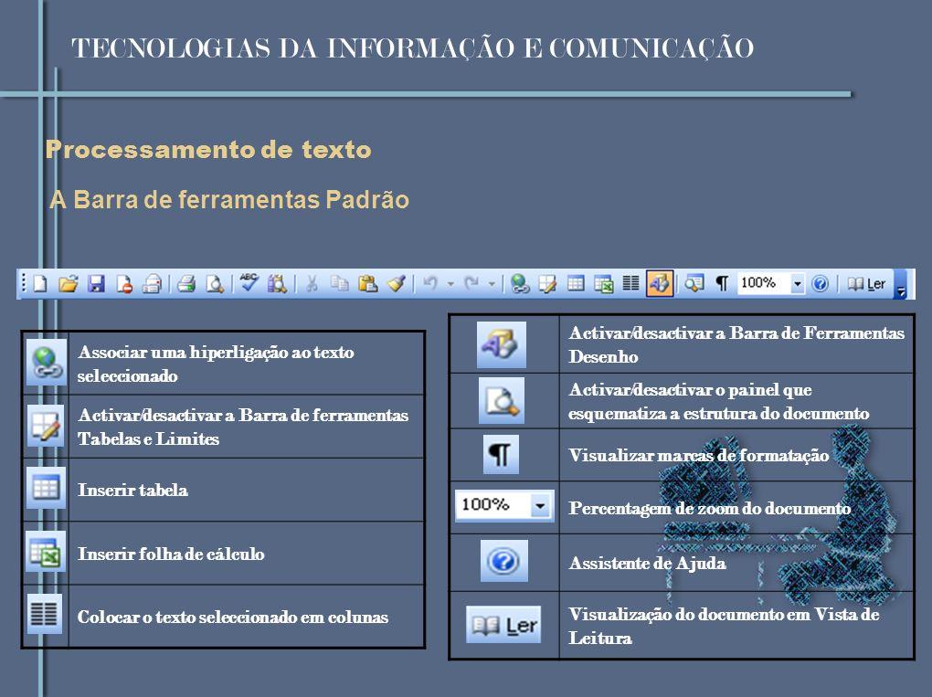 Processamento de texto A Barra de ferramentas Padrão Associar uma hiperligação ao texto seleccionado Activar/desactivar a Barra de ferramentas Tabelas e Limites Inserir tabela Inserir folha de cálculo Colocar o texto seleccionado em colunas Activar/desactivar a Barra de Ferramentas Desenho Activar/desactivar o painel que esquematiza a estrutura do documento Visualizar marcas de formatação Percentagem de zoom do documento Assistente de Ajuda Visualização do documento em Vista de Leitura TECNOLOGIAS DA INFORMAÇÃO E COMUNICAÇÃO