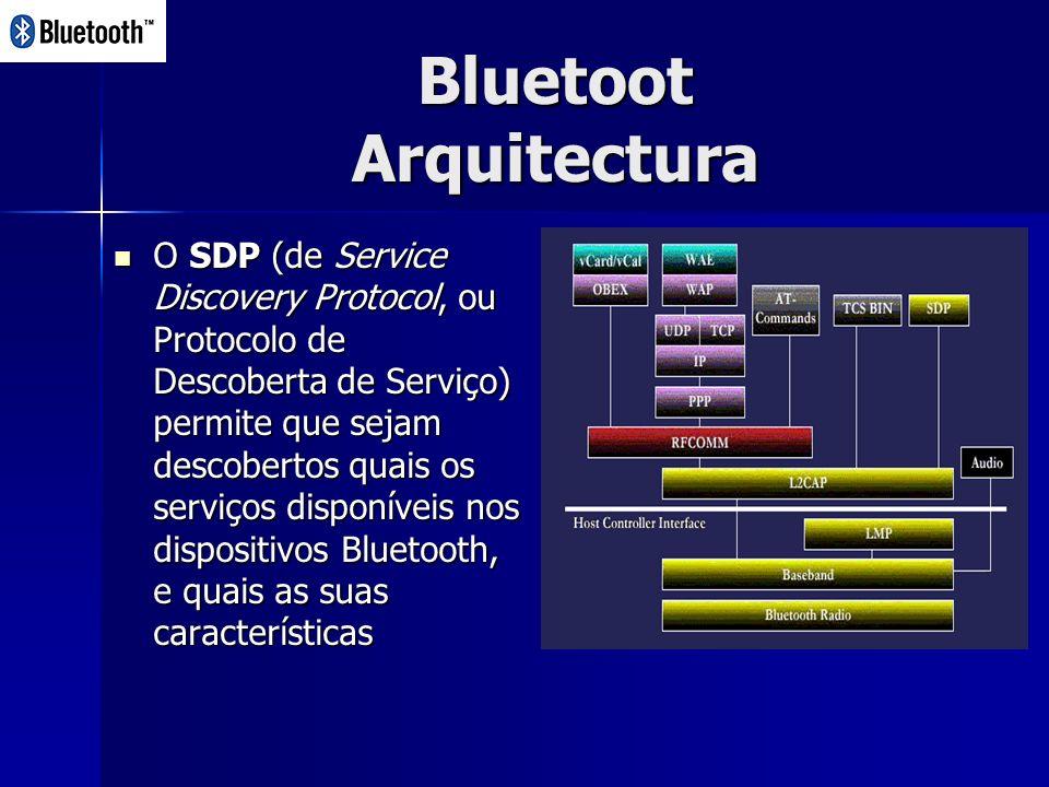 Bluetoot Arquitectura O SDP (de Service Discovery Protocol, ou Protocolo de Descoberta de Serviço) permite que sejam descobertos quais os serviços disponíveis nos dispositivos Bluetooth, e quais as suas características O SDP (de Service Discovery Protocol, ou Protocolo de Descoberta de Serviço) permite que sejam descobertos quais os serviços disponíveis nos dispositivos Bluetooth, e quais as suas características