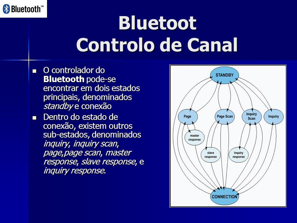 Bluetoot Controlo de Canal O controlador do Bluetooth pode-se encontrar em dois estados principais, denominados standby e conexão O controlador do Bluetooth pode-se encontrar em dois estados principais, denominados standby e conexão Dentro do estado de conexão, existem outros sub-estados, denominados inquiry, inquiry scan, page,page scan, master response, slave response, e inquiry response.