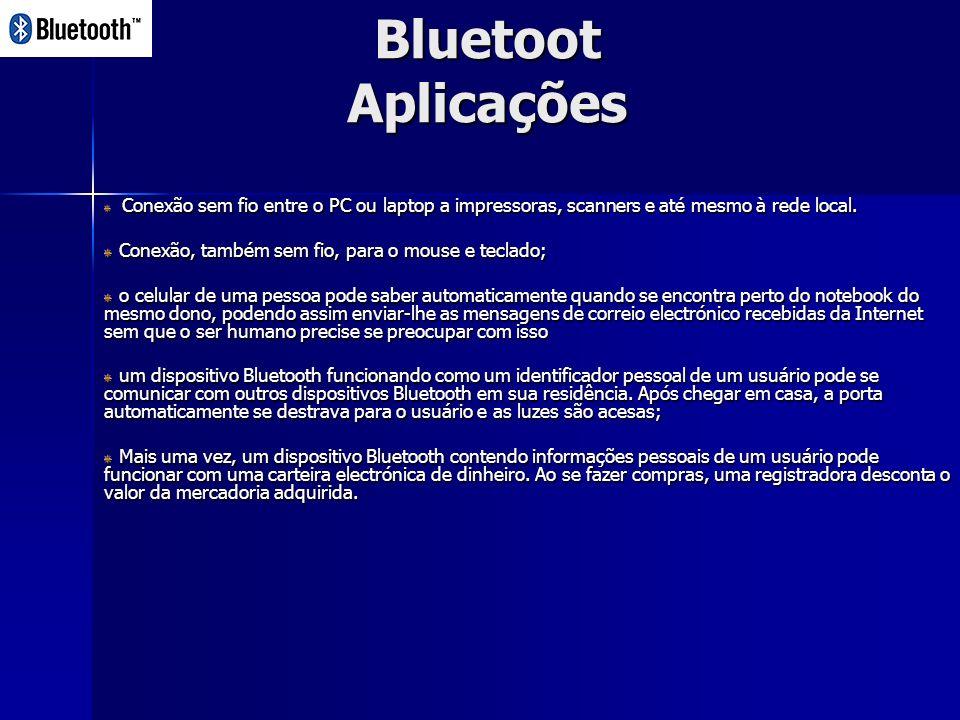 Bluetoot Aplicações Conexão sem fio entre o PC ou laptop a impressoras, scanners e até mesmo à rede local.