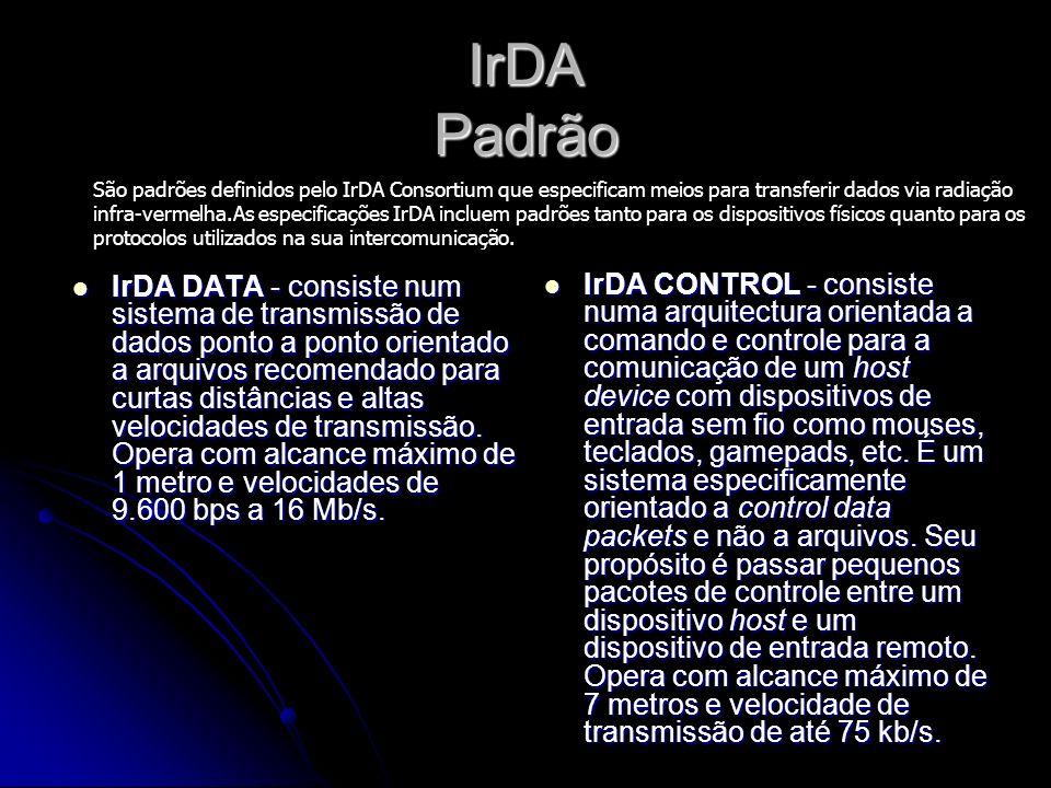 IrDA Padrão IrDA DATA - consiste num sistema de transmissão de dados ponto a ponto orientado a arquivos recomendado para curtas distâncias e altas velocidades de transmissão.