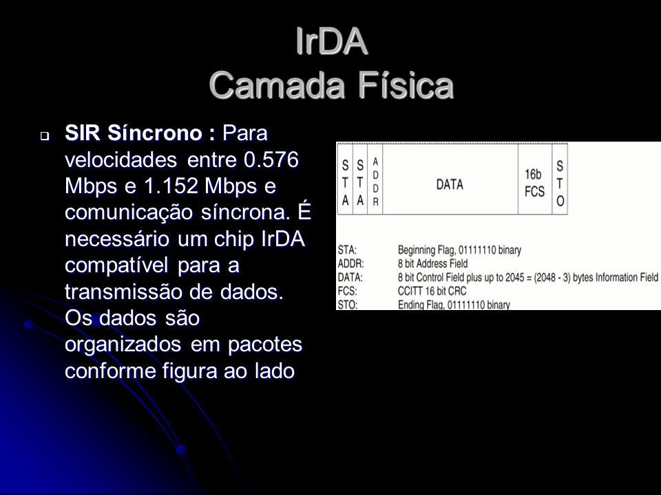 IrDA Camada Física SIR Síncrono : Para velocidades entre 0.576 Mbps e 1.152 Mbps e comunicação síncrona.