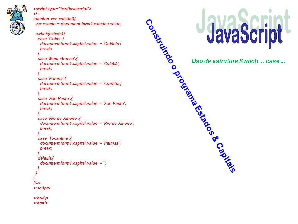 Construindo o programa Estados & Capitais Uso da estrutura Switch... case...