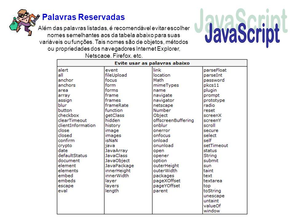 Além das palavras listadas, é recomendável evitar escolher nomes semelhantes aos da tabela abaixo para suas variáveis ou funções. Tais nomes são de ob