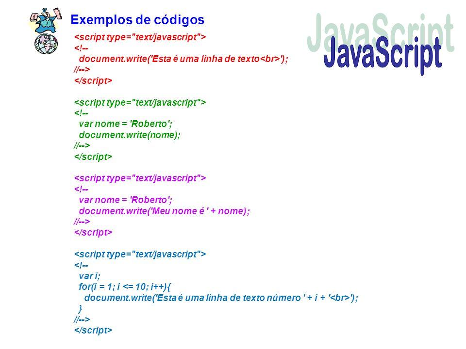 Exemplos de códigos '); //--> '); } //-->