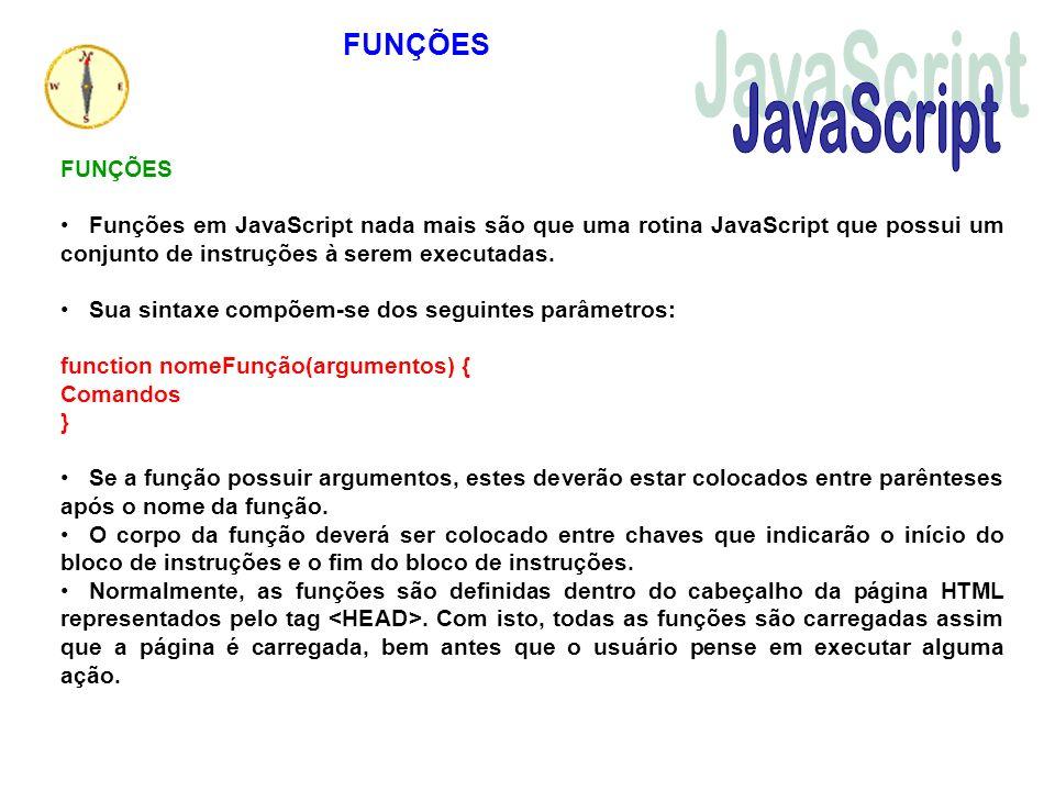 FUNÇÕES Funções em JavaScript nada mais são que uma rotina JavaScript que possui um conjunto de instruções à serem executadas. Sua sintaxe compõem-se