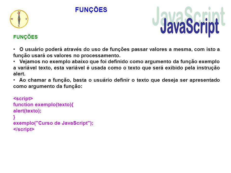 O usuário poderá através do uso de funções passar valores a mesma, com isto a função usará os valores no processamento. Vejamos no exemplo abaixo que