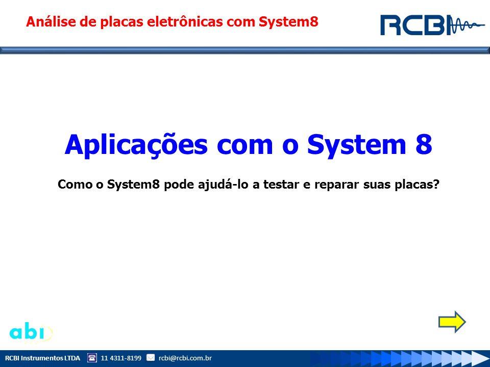 RCBI Instrumentos LTDA 11 4311-8199 rcbi@rcbi.com.br Sobre o System 8 O SYSTEM 8 é um conjunto de ferramentas dedicados para testes, medidas, detecção de falhas em placas e componentes eletrônicos que possuam tecnologia analógica ou digital.