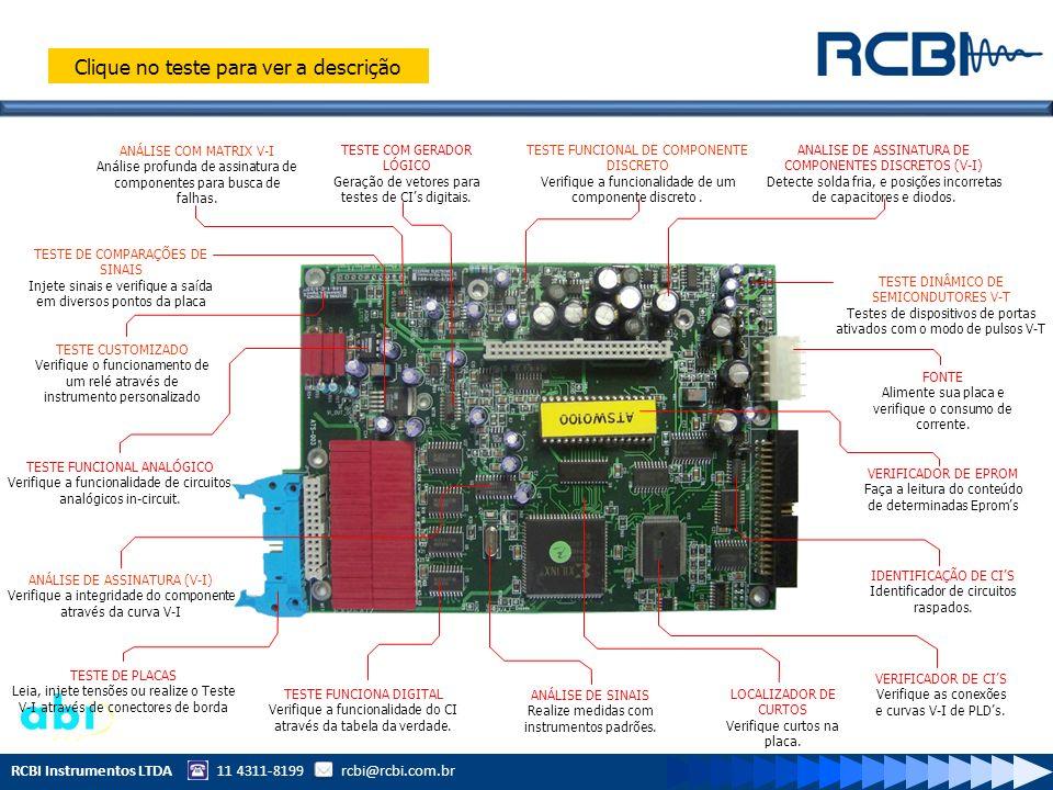 RCBI Instrumentos LTDA 11 4311-8199 rcbi@rcbi.com.br ANÁLISE COM MATRIX V-I Análise profunda de assinatura de componentes para busca de falhas. TESTE