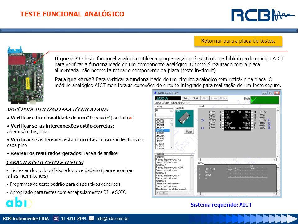 RCBI Instrumentos LTDA 11 4311-8199 rcbi@rcbi.com.br Sistema requerido: AICT O que é ? O teste funcional analógico utiliza a programação pré existente