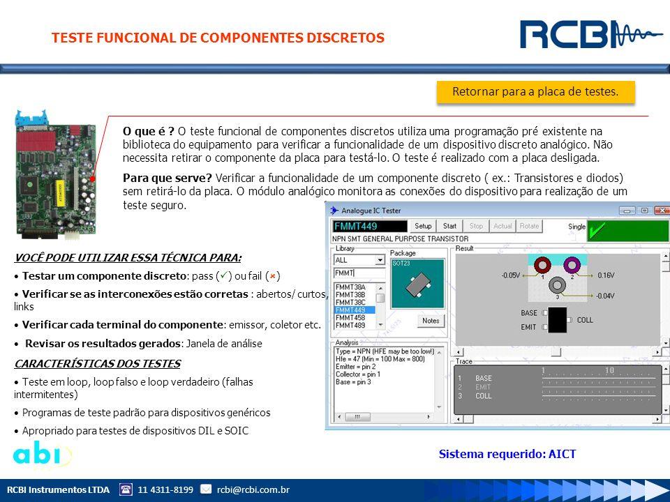 RCBI Instrumentos LTDA 11 4311-8199 rcbi@rcbi.com.br O que é ? O teste funcional de componentes discretos utiliza uma programação pré existente na bib