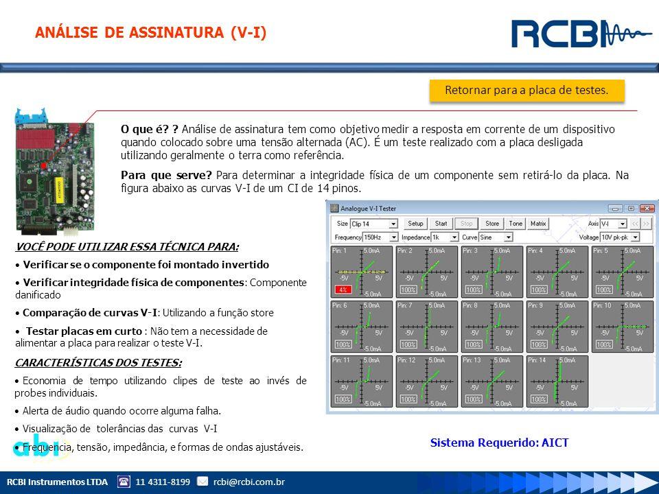 RCBI Instrumentos LTDA 11 4311-8199 rcbi@rcbi.com.br O que é? ? Análise de assinatura tem como objetivo medir a resposta em corrente de um dispositivo