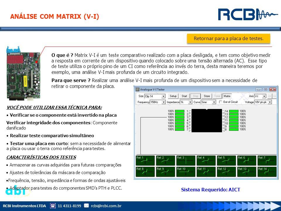 RCBI Instrumentos LTDA 11 4311-8199 rcbi@rcbi.com.br O que é ? Matrix V-I é um teste comparativo realizado com a placa desligada, e tem como objetivo