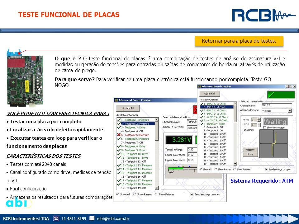 RCBI Instrumentos LTDA 11 4311-8199 rcbi@rcbi.com.br O que é ? O teste funcional de placas é uma combinação de testes de análise de assinatura V-I e m