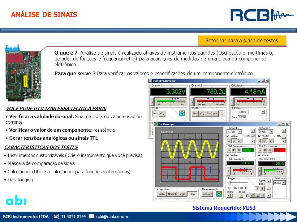 RCBI Instrumentos LTDA 11 4311-8199 rcbi@rcbi.com.br O que é ? Análise de sinais é realizado através de instrumentos padrões (Osciloscópio, multímetro