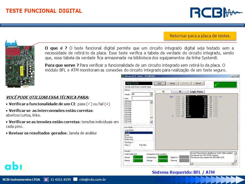 RCBI Instrumentos LTDA 11 4311-8199 rcbi@rcbi.com.br O que é ? O teste funcional digital permite que um circuito integrado digital seja testado sem a