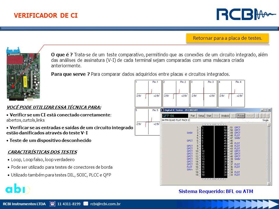 RCBI Instrumentos LTDA 11 4311-8199 rcbi@rcbi.com.br O que é ? Trata-se de um teste comparativo, permitindo que as conexões de um circuito integrado,