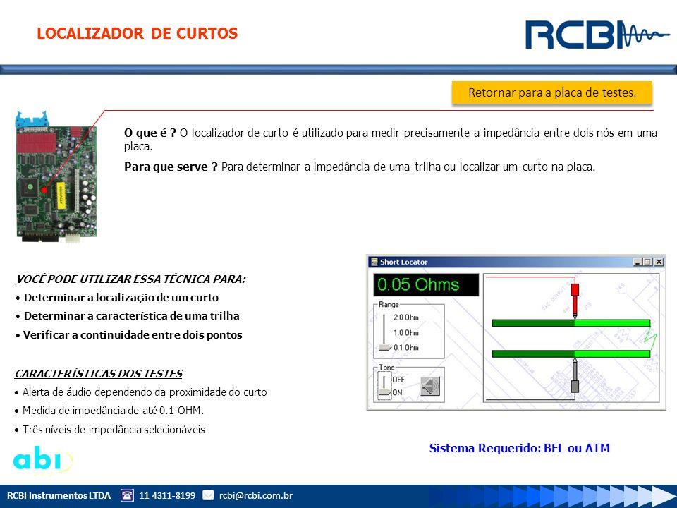 RCBI Instrumentos LTDA 11 4311-8199 rcbi@rcbi.com.br O que é ? O localizador de curto é utilizado para medir precisamente a impedância entre dois nós